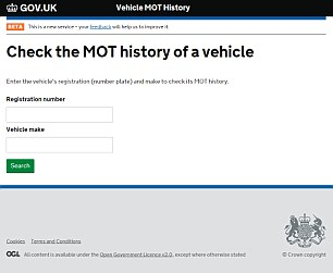 Enter the registration number and car make and the new site tells you what advisories the car has