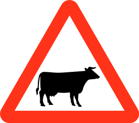 Traffic sign of Bangladesh: Warning for cattle on the road