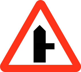 Traffic sign of Bangladesh: Warning for side road on the right