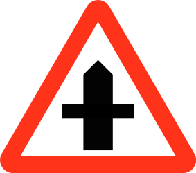 Traffic sign of Bangladesh: Warning for a crossroad side roads on the left and right