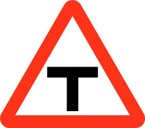 Traffic sign of Bangladesh: Warning for an uncontrolled T-crossroad