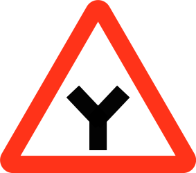 Traffic sign of Bangladesh: Warning for an uncontrolled Y-crossroad