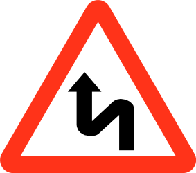 Traffic sign of Bangladesh: Warning for a double curve, first left then right
