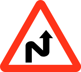 Traffic sign of Bangladesh: Warning for a double curve, first right then left
