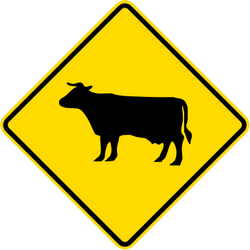 Traffic sign of Malaysia: Warning for cattle on the road