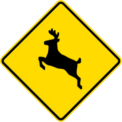 Traffic sign of Malaysia: Warning for crossing deer