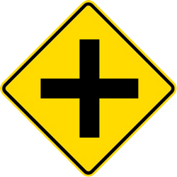 Traffic sign of Malaysia: Warning for an uncontrolled crossroad