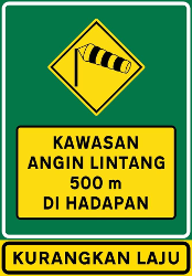 Traffic sign of Malaysia: Warning for heavy crosswind