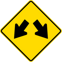 Traffic sign of Malaysia: Warning for an obstacle, pass left or right