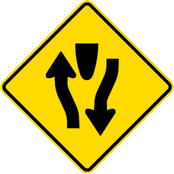 Traffic sign of Malaysia: Warning for a divided road