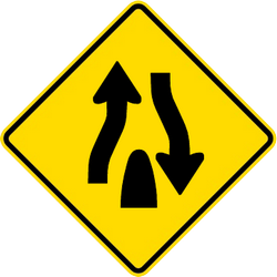 Traffic sign of Malaysia: Warning for the end of a divided road