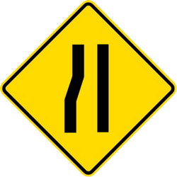 Traffic sign of Malaysia: Warning for a road narrowing on the left