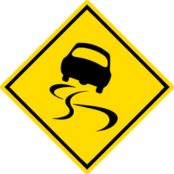 Traffic sign of Malaysia: Warning for a slippery road surface