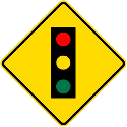 Traffic sign of Malaysia: Warning for a traffic light