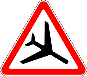 Traffic sign of Russia: Warning for low-flying aircrafts