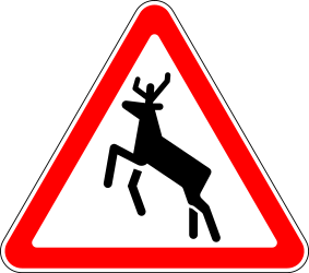 Traffic sign of Russia: Warning for crossing deer