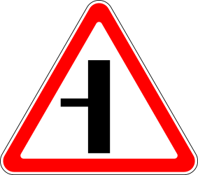 Traffic sign of Russia: Warning for a crossroad with a side road on the left