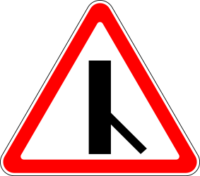 Traffic sign of Russia: Warning for a crossroad with a sharp side road on the right