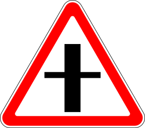 Traffic sign of Russia: Warning for a crossroad side roads on the left and right