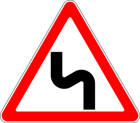 Traffic sign of Russia: Warning for a double curve, first left then right