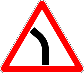 Traffic sign of Russia: Warning for a curve to the left
