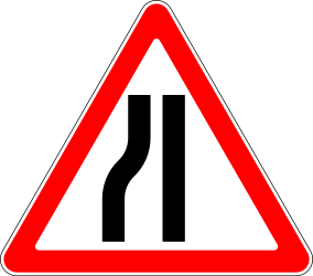 Traffic sign of Russia: Warning for a road narrowing on the left