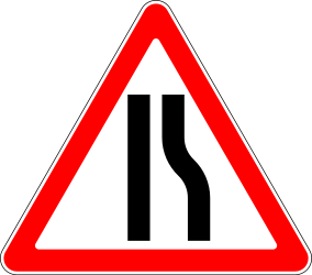 Traffic sign of Russia: Warning for a road narrowing on the right