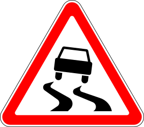 Traffic sign of Russia: Warning for a slippery road surface