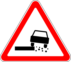 Traffic sign of Russia: Warning for a soft verge