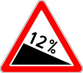 Traffic sign of Russia: Warning for a steep descent
