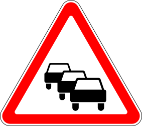 Traffic sign of Russia: Warning for traffic jams