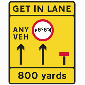 Get in lane road sign