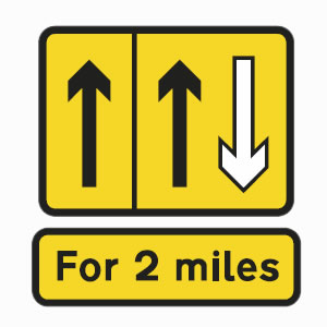 Yellow road sign left lane hard shoulder and contra-flow