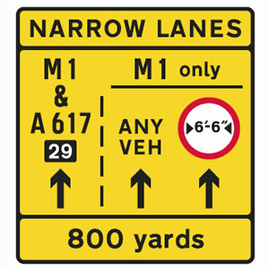 Narrow lanes road sign