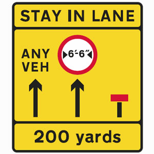 Stay in lane road sign