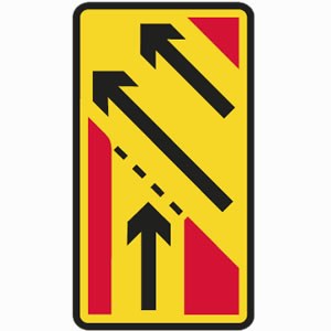Temporary yellow slip road sign - merge with carriageway