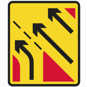 Temporary yellow slip road sign