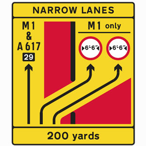 Motorway traffic lanes divide sign