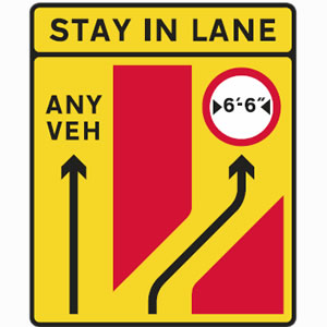Traffic lanes separate sign